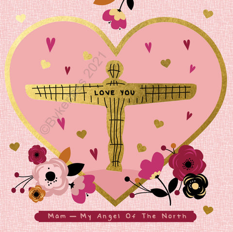 Mam My Angel Of The North Beautiful Foil Mothers Day Card - (GF1)