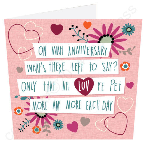 Anniversary Geordie Poetry Card words by Matt Reilly artwork by Jo Burrows wotmalike ltd