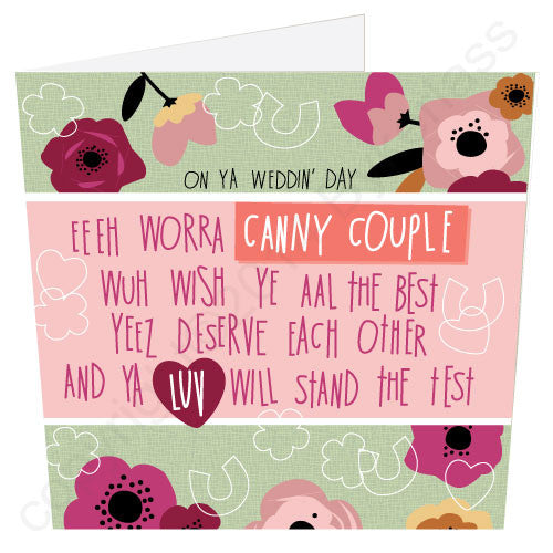 Canny Couple on their Wedding Day Geordie Poetry Card words by Matt Reilly, design Jo Burrows Bykerlass