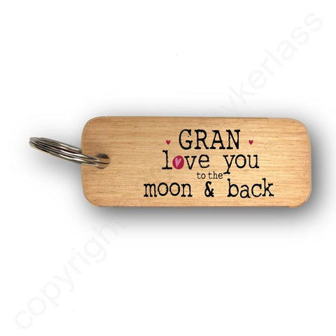 Gran Love You To The Moon and Back Mothers Day Gift Wooden Keyring - RWKR1