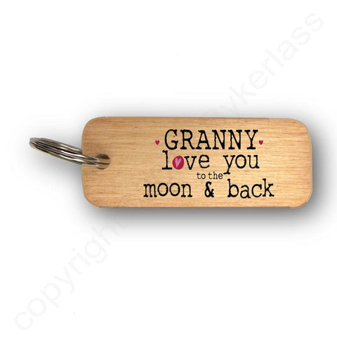 Granny Love You To The Moon and Back Mothers Day Gift Wooden Keyring - RWKR1