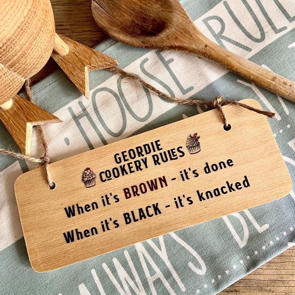 Geordie Cookery Rules Sign Rustic North East Wooden Sign by Wotmalike