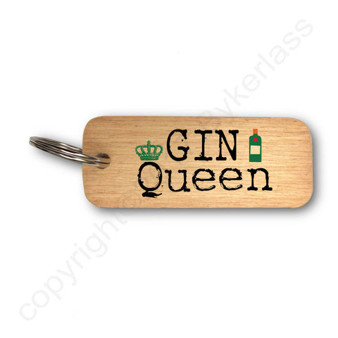 Gin Queen Gin Lovers Wooden Keyring - RWKR1