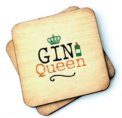 Gin Queen - Wooden Coaster  RWC1