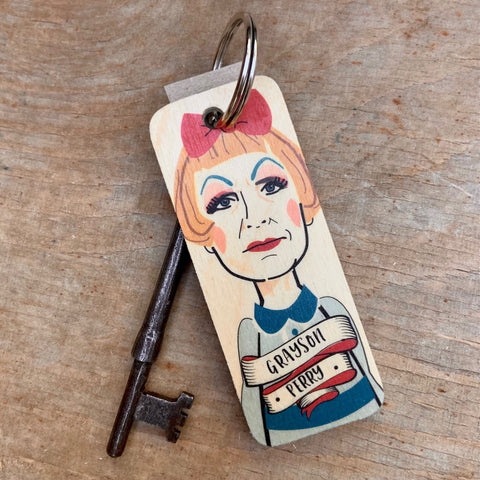 Grayson Perry Character Wooden Keyring - RWKR1