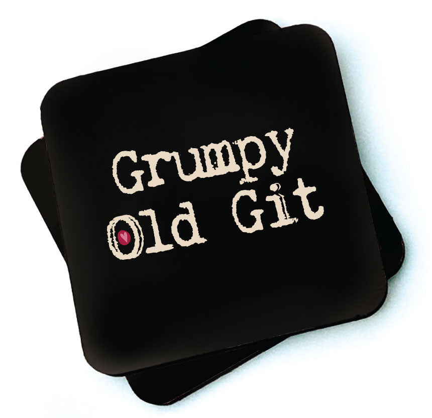 Grump Old Git -  Dark Collection Wooden Coaster by Wotmalike