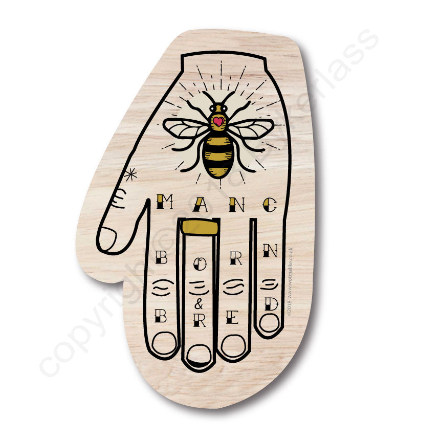 Manchester Bee Hand Shaped Wooden Coaster by Wotmalike