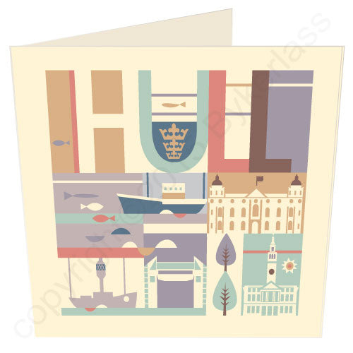 Hull City Scape Coaster with boat - Yorkshire Card