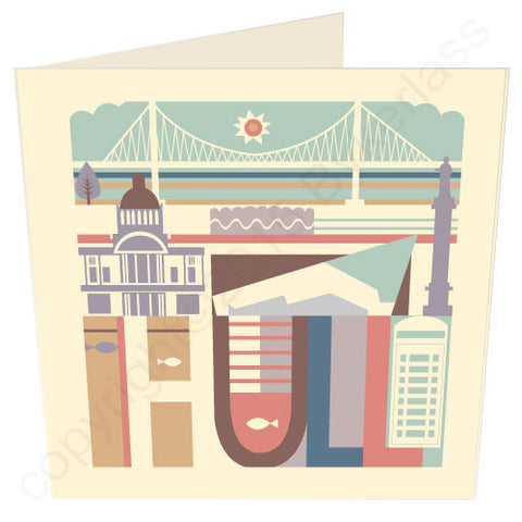 Hull City Scape with bridge - Yorkshire Card (HC2)