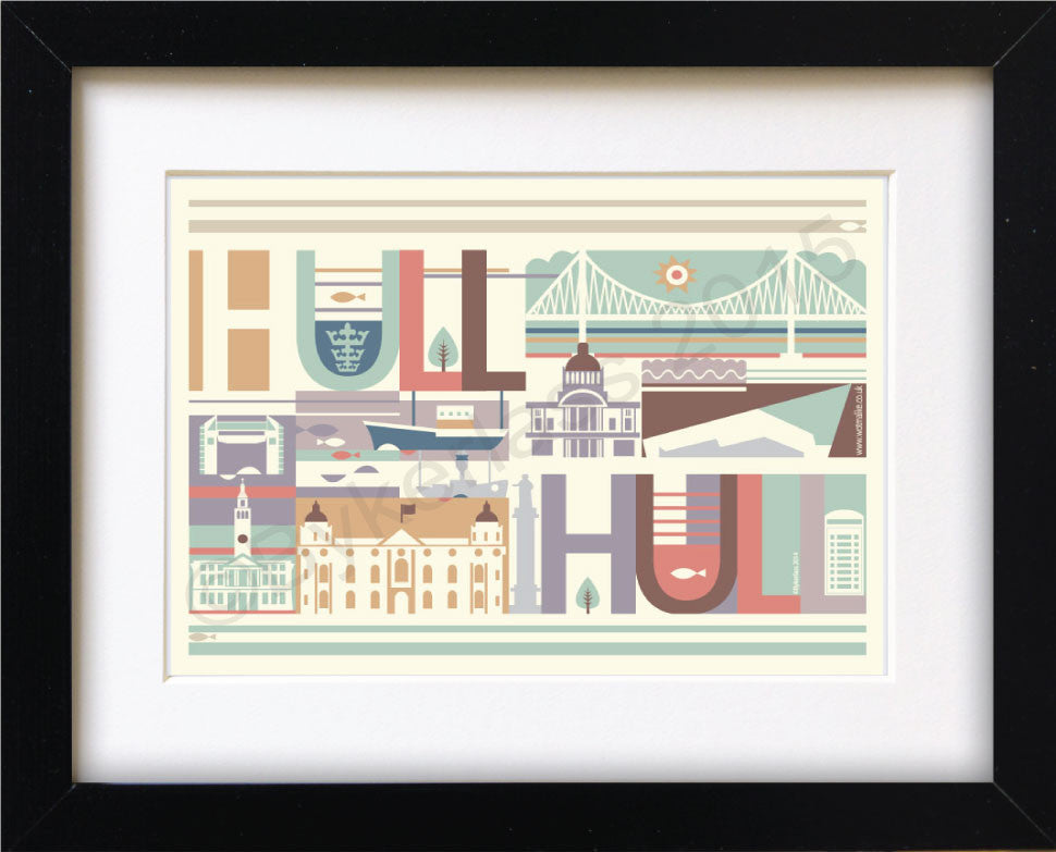 Hull City Scape Print Mounted Print