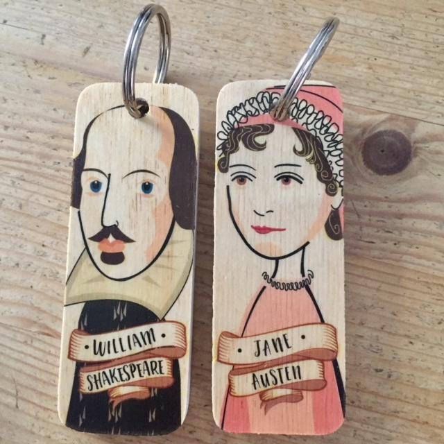 William Shakespeare Character Wooden Keyring by Wotmalike