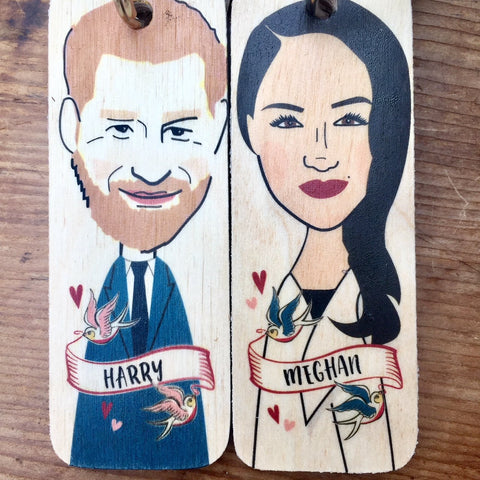 Meghan Markle Character Wooden Keyring - RWKR1