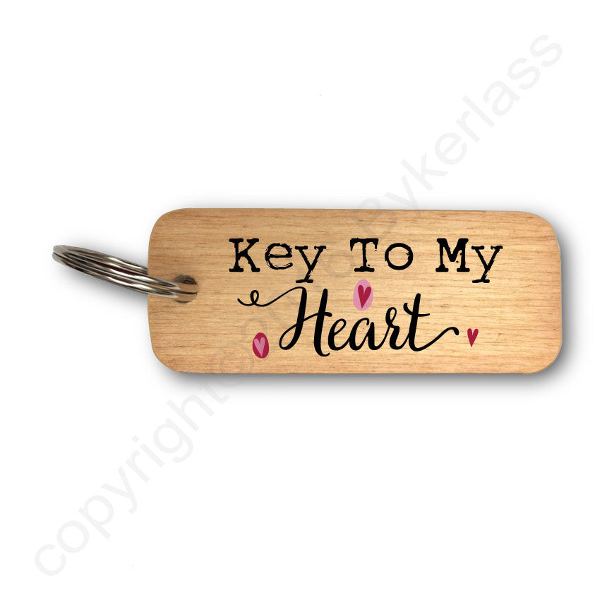 Key To My Heart Wooden Keyring