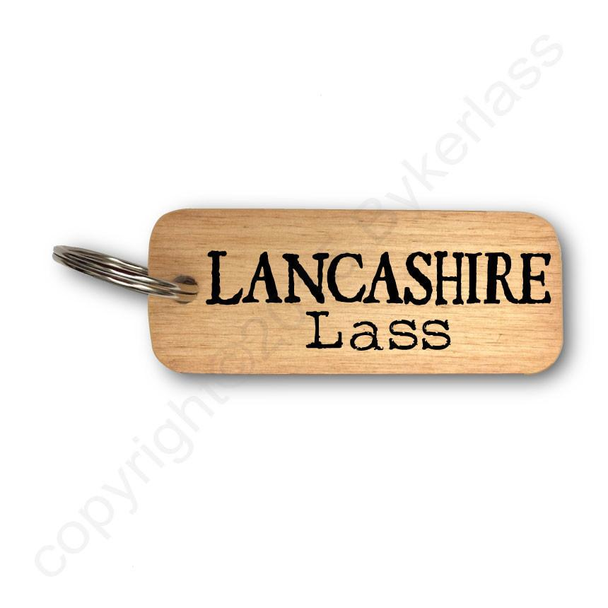 Lancashire Lass North West Rustic Wooden Keyring