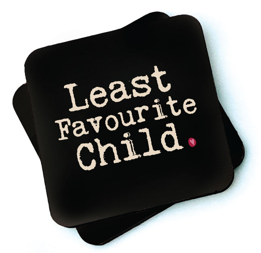 Least Favourite Child -  Dark Collection Wooden Coaster by Wotmalike