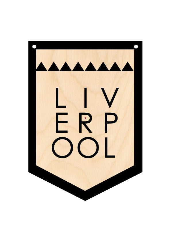 LIVERPOOL Wooden Hanging Banner by Wotmalike