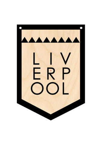 LARGE LIVERPOOL Wooden Hanging Banner  - WHB