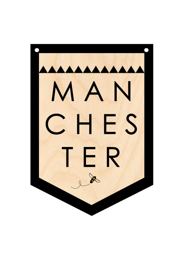 MANCHESTER Wooden Hanging Banner by Wotmalike
