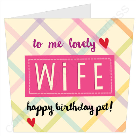 NEW! To Me Lovely Wife Happy Birthday Pet Card (MB40)