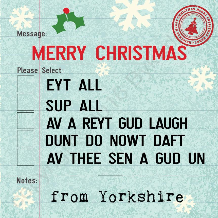 Yorkshire Options Christmas Card by Wotmalike