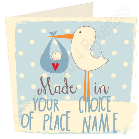 Made in ...... Personalised Baby Boy Card (MB13)