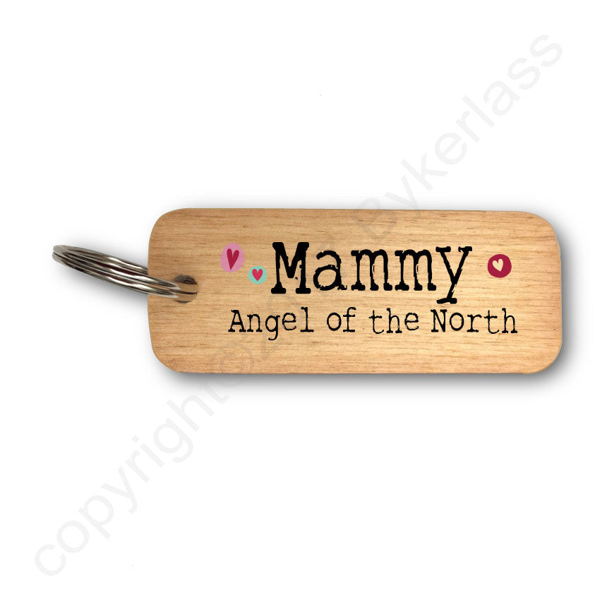 Mammy Angel of The North Rustic Wooden Keyring