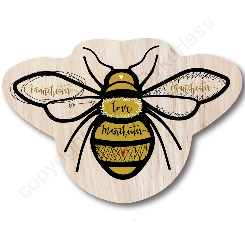 Wooden Manchester Bee Shaped Coaster by Wotmalike