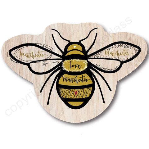 Manchester Bee Shaped Wooden Coaster - RWC2
