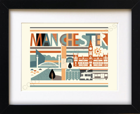 City Scape Manchester Brights Print Mounted Print (NDP1)