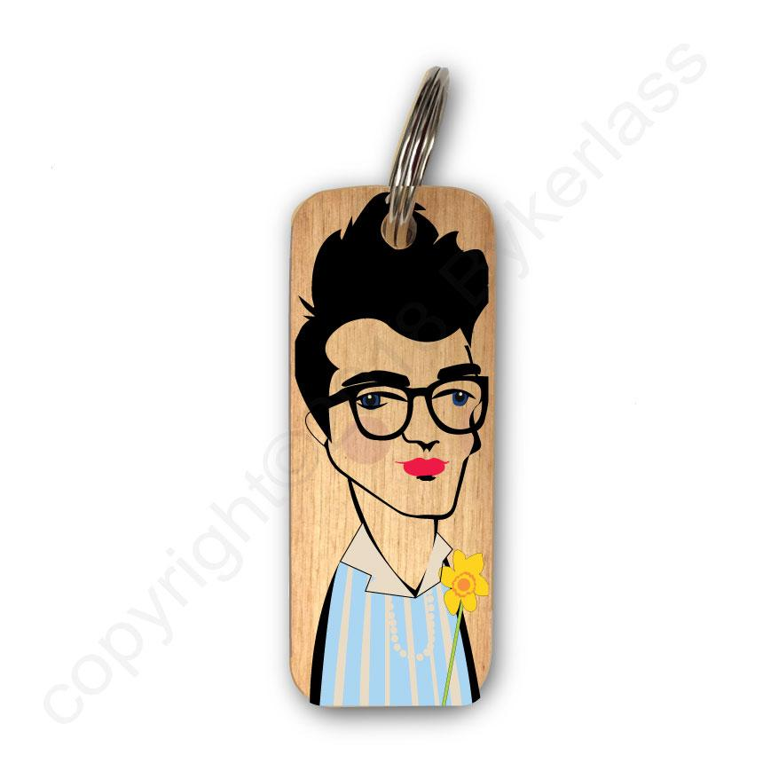 Morrissey Character Wooden Keyring by Wotmalike