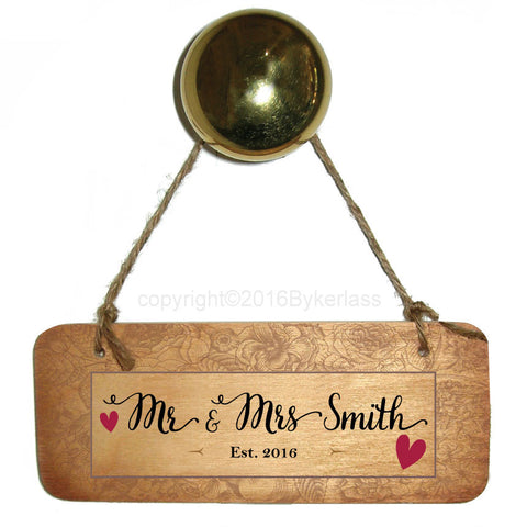 "Wedding Mr & Mrs ""You Choose Surname""  With Border Personalised Rustic Wooden Sign - RWS1"