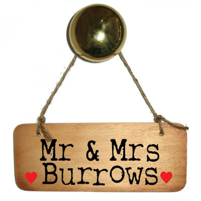 "Mr & Mrs ""You Choose Surname""  Personalised Rustic Wooden Sign - RWS1"
