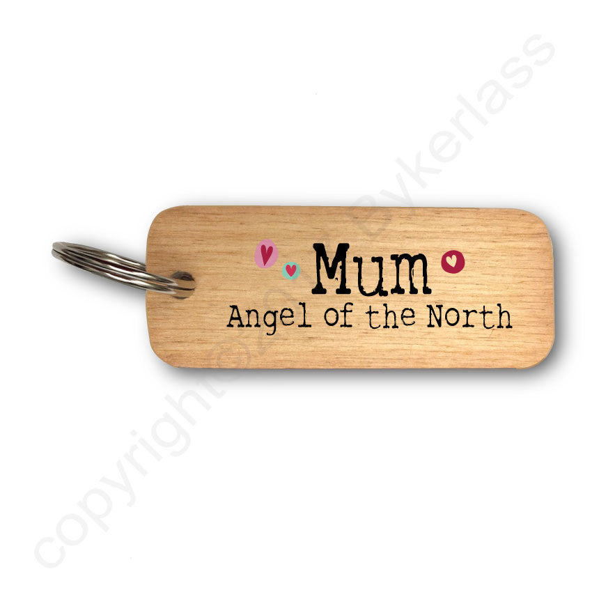 Mum Angel of The North Rustic Wooden Keyring
