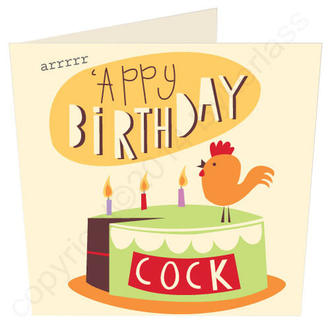 'Appy Birthday Cock - North Divide Birthday Card (ND13)