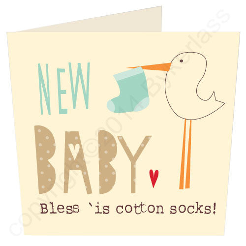 New Baby (boy) Bless 'is Cotton Socks - North Divide Baby Boy Card