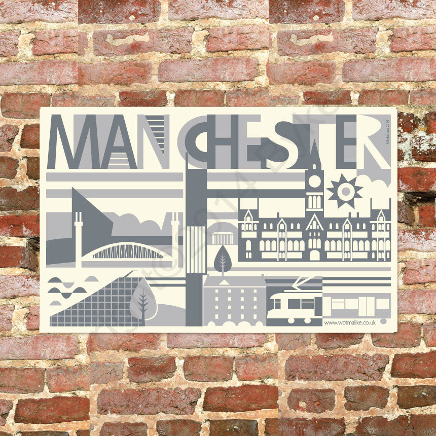 City Scape Manchester City Tea Towel