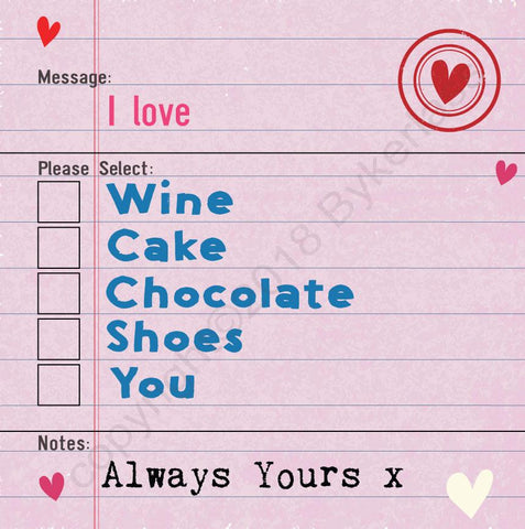 I Love Wine Options Valentines Card (MBV5-1)