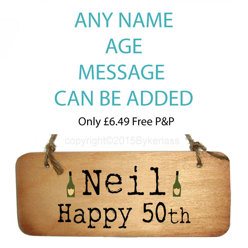 Birthday -  Personalised Rustic Wooden Sign - You choose the tex