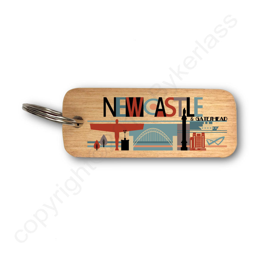 Geordie City Bright Rustic Wooden Keyring -