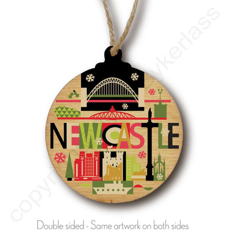 Newcastle City Scape Rustic Wooden Christmas Bauble  - DOUBLE SIDED  RWB1