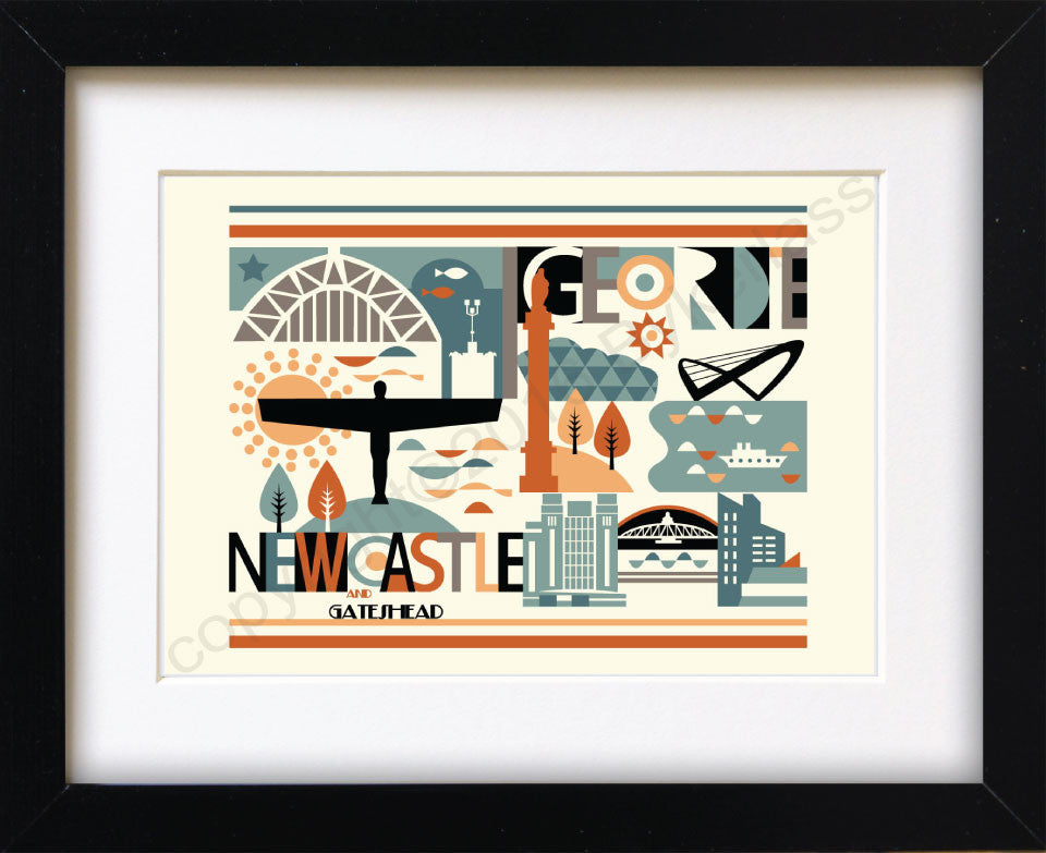 Geordie City Scape Brights Print Mounted Print