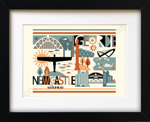 Geordie City Scape Brights Print Mounted Print (GMP2)