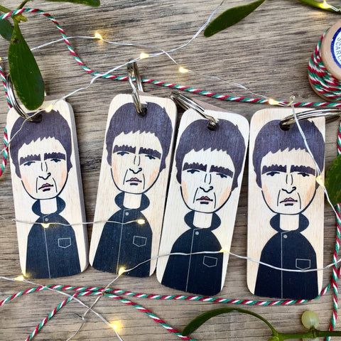 Noel Gallagher Character Wooden Keyring - RWKR1
