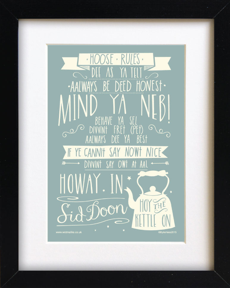 Creatively designed Geordie themed framed prints. Great Gifts and personalised presents for Geordies