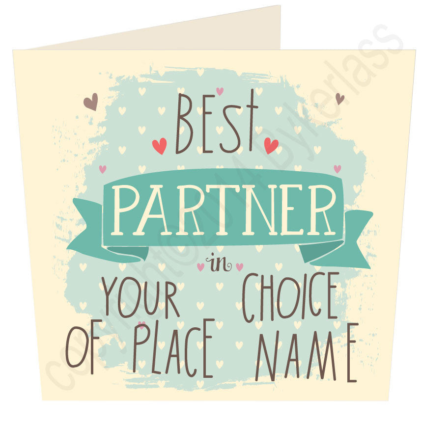 Best Partner in ......  (Blue) Personalised Card MB13