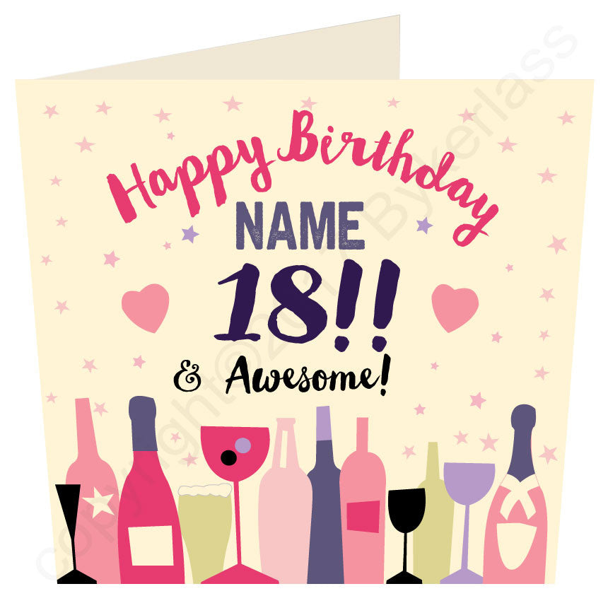 Birthday Age From 18 to 100 you choose!  Personalised Card (MB44)