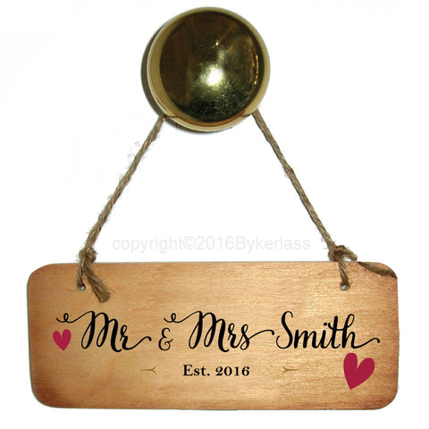 "Wedding Sign - Mr & Mrs ""You Choose Surname""  Personalised Rustic Wooden Sign - RWS1"