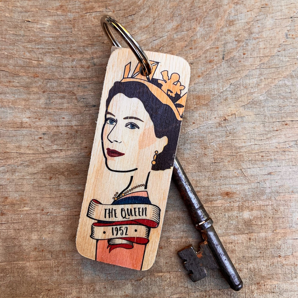 The Queen Character Wooden Keyring by Wotmalike