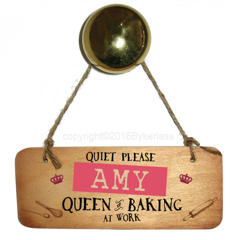 Personalised Queen of Baking Wooden Sign - RWS1