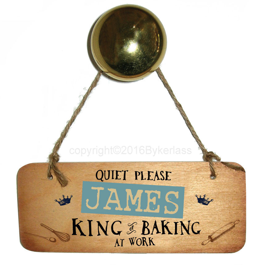 Personalised King of Baking Wooden Sign by Wotmalike